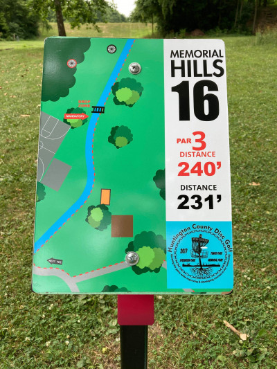Memorial Hills, Main course, Hole 16 Hole sign