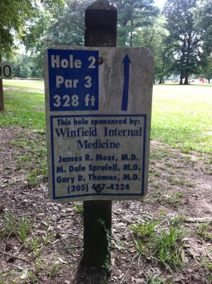 Ivan K. Hill Recreational Park, Main course, Hole 2 Hole sign