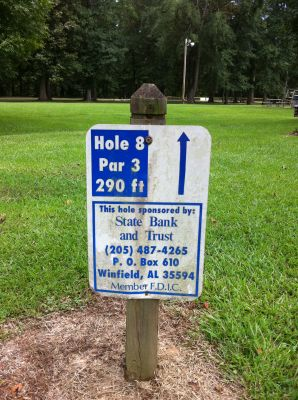 Ivan K. Hill Recreational Park, Main course, Hole 8 Hole sign