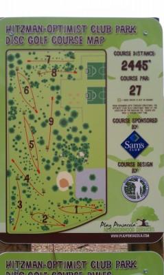 Hitzman Optimist Park, Main course, Hole 1 Hole sign