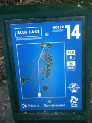 Blue Lake Park, Main course, Hole 14 Hole sign