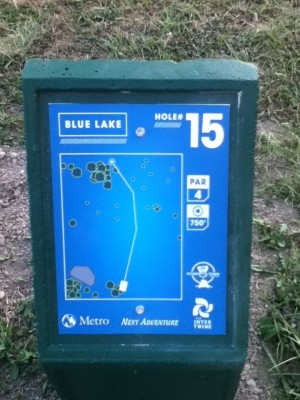 Blue Lake Park, Main course, Hole 15 Hole sign