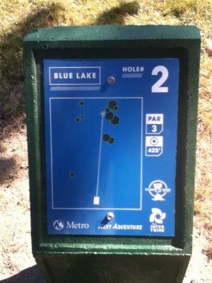 Blue Lake Park, Main course, Hole 2 Hole sign