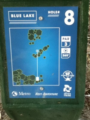 Blue Lake Park, Main course, Hole 8 Hole sign
