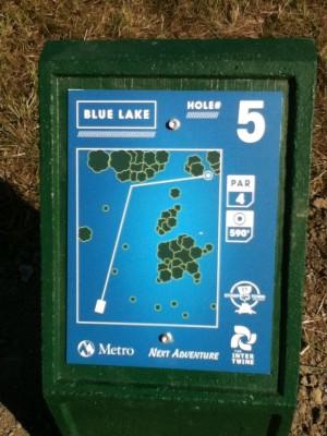 Blue Lake Park, Main course, Hole 5 Hole sign