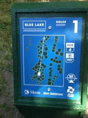 Blue Lake Park, Main course, Hole 1 Hole sign