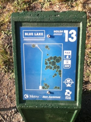 Blue Lake Park, Main course, Hole 13 Hole sign