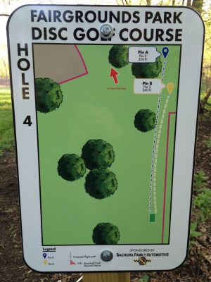 Fairgrounds Park, Main course, Hole 4 Hole sign