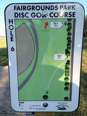 Fairgrounds Park, Main course, Hole 6 Hole sign