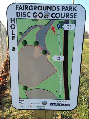 Fairgrounds Park, Main course, Hole 8 Hole sign