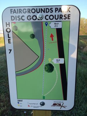 Fairgrounds Park, Main course, Hole 7 Hole sign