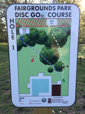 Fairgrounds Park, Main course, Hole 1 Hole sign