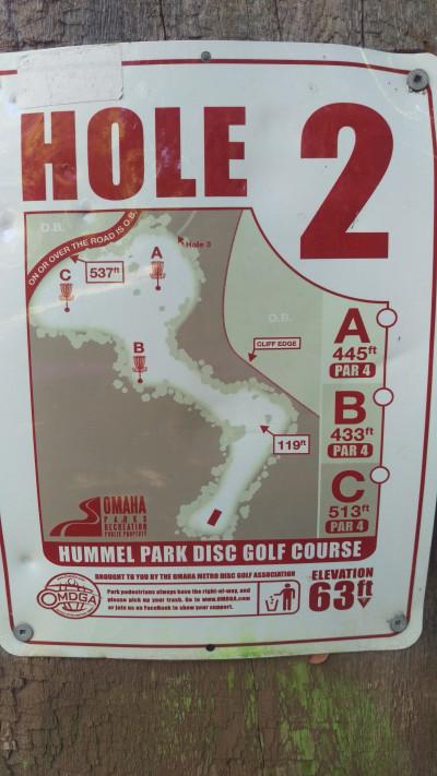 Hummel Park, Main course, Hole 2 Hole sign