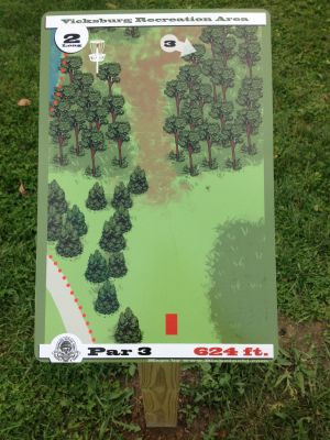 Vicksburg Recreation Area, Main course, Hole 2 Hole sign