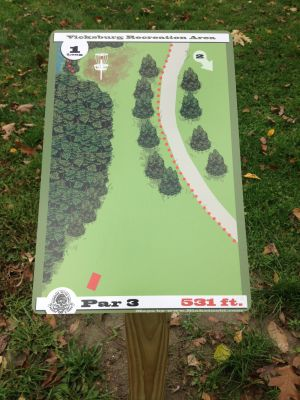 Vicksburg Recreation Area, Main course, Hole 1 Hole sign