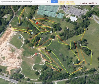 Highland Road Park, Main course, Hole 2 Tee pad