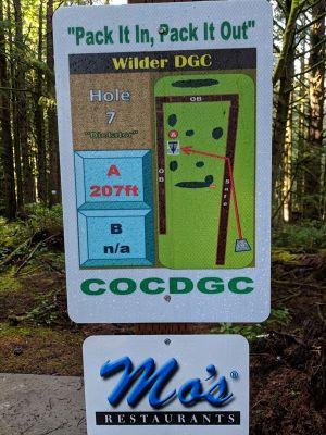 Wilder DGC, Main course, Hole 7 Hole sign