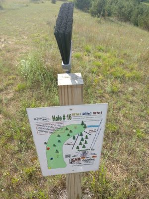 Wild Haven Disc Golf Resort, Yetisburg, Hole 16 Hole sign
