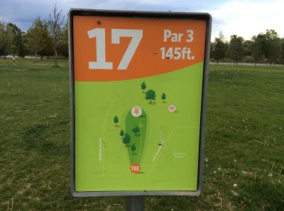 Valmont City Park, Main course, Hole 17 Hole sign