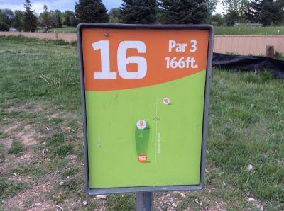 Valmont City Park, Main course, Hole 16 Hole sign