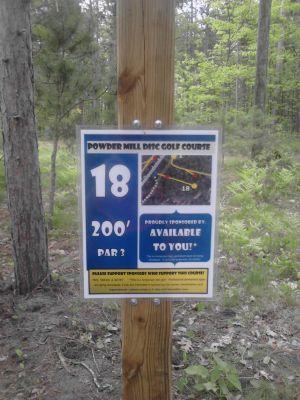 Powder Mill DGC, Main course, Hole 18 Long tee pad