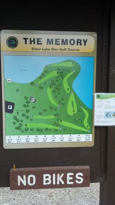 Clear Lake State Park, The Memory Clear Lake DGC, Hole 1 Hole sign