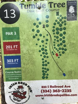 Opelika Sportsplex, Tumble Tree, Hole 13 Hole sign