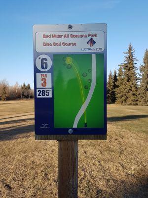 Bud Miller Park, Main course, Hole 6 Hole sign