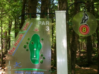 Sabattus DGC, Hawk, Hole 8 Hole sign