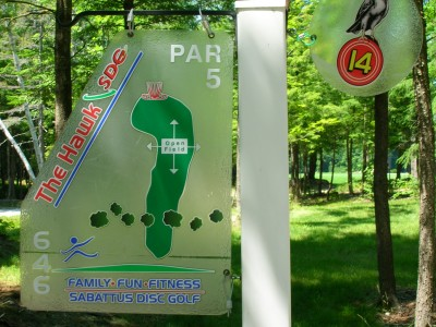 Sabattus DGC, Hawk, Hole 14 Hole sign