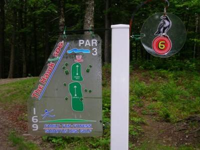 Sabattus DGC, Hawk, Hole 6 Hole sign