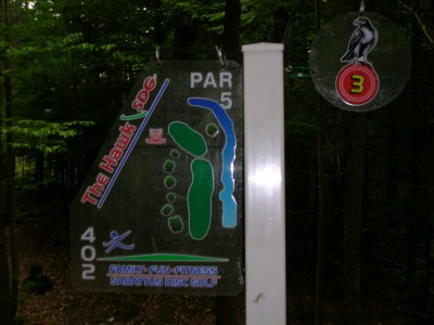 Sabattus DGC, Hawk, Hole 3 Hole sign