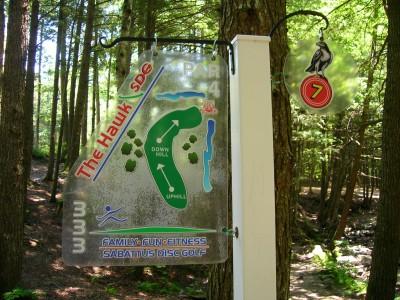 Sabattus DGC, Hawk, Hole 7 Hole sign