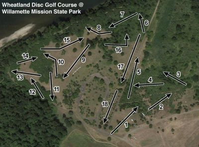 Wheatland DGC @ Willamette Mission State Park, Wheatland DGC, Hole 3 Alternate pin