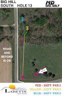 Big Hill Lake, Big Hill Temp Course, Hole 13 Hole sign