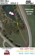 Big Hill Lake, Big Hill Temp Course, Hole 3 Hole sign