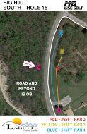 Big Hill Lake, Big Hill Temp Course, Hole 15 Hole sign