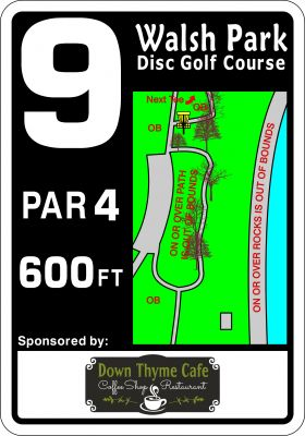 Walsh Park, Main course, Hole 9 Hole sign