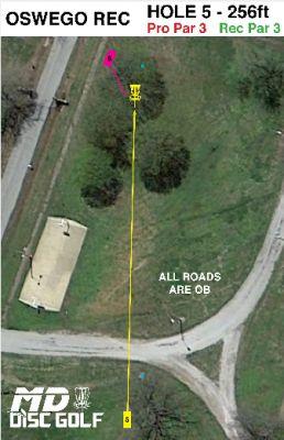 Oswego Overlook, Main course, Hole 5 Hole sign