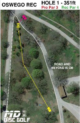 Oswego Overlook, Main course, Hole 1 Hole sign