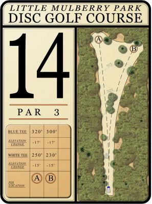 Little Mulberry DGC, Main Course, Hole 14 Hole sign