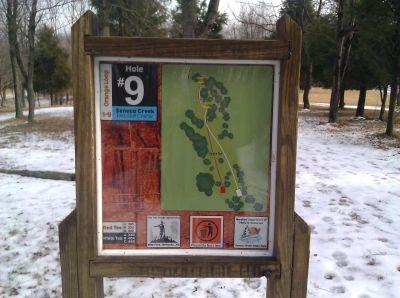 Seneca Creek State Park, Main course, Hole 9 Hole sign