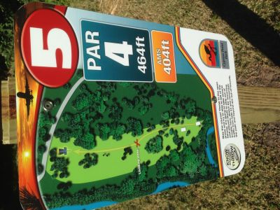 Cypress Point Park, Champ course, Hole 5 Hole sign