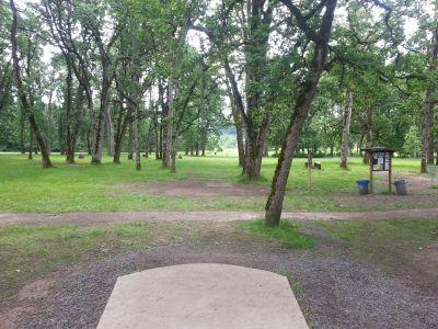 Champoeg State Park, Old Oak Grove, Hole 1 Tee pad