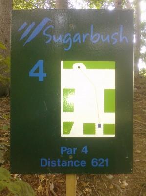 Sugarbush, Peak Course, Hole 4 Hole sign