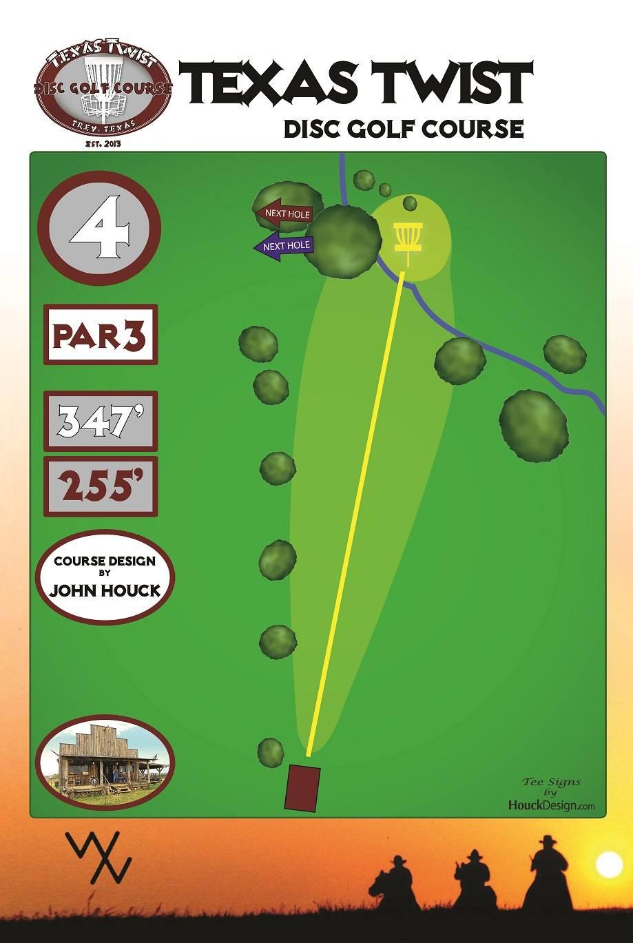 Hole 4 Texas Twist Trey Ranch Mount Vernon Tx Disc Golf Diagram View Larger Version