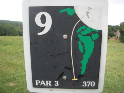 Barre Falls, Main course, Hole 9 Hole sign