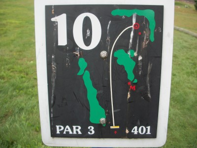 Barre Falls, Main course, Hole 10 Hole sign