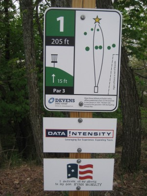 Devens DGC, The Hill, Hole 1 Hole sign
