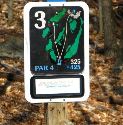 Borderland State Park, Main course, Hole 3 Hole sign